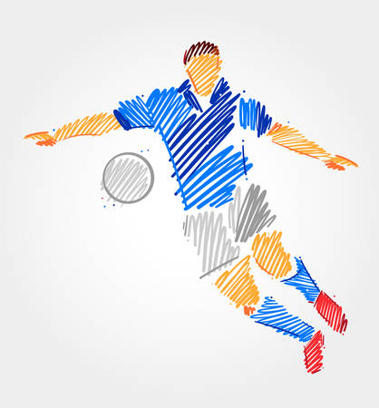 Football player prepared to kick the ball, made of blue and grayscale brush strokes