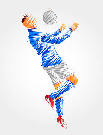 Drawing of soccer player jumping to dominate the ball in the chest made with blue and grayscale brush strokes Çizim