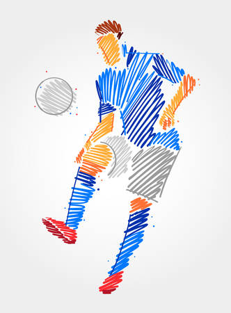 Soccer player dominating the ball in the same place. Simple drawing in blue and grayscale brush strokes on light background