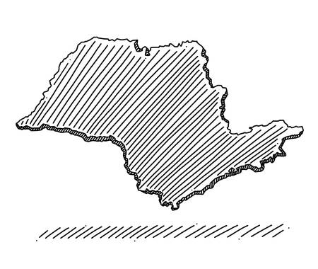 Doodle of map of the state of São Paulo, Brazil. Drawing with black brush strokes