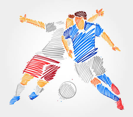 Two soccer players fighting over the ball. Simple drawing in blue and grayscale brush strokes on light background Ilustrace