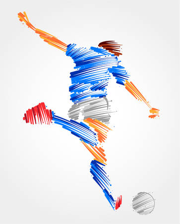 Soccer player ready to kick the ball made of colorful brushstrokes Çizim