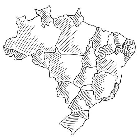 black sketch of Brazil Map on a white background. Drawing with black brush strokes Çizim