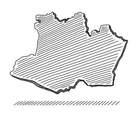 Doodle of a Brazilian state in the northern region. Drawing with black brush strokes