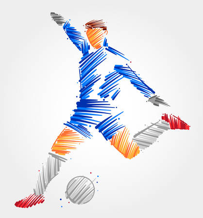Goalkeeper running to kick the ball away, made in blue and grayscale brush strokes on light background Çizim