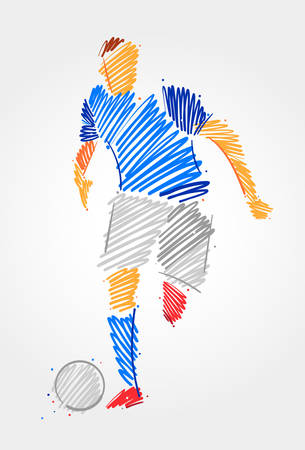 Soccer player carrying the ball over clear background