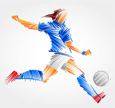Female soccer player kicking the ball made of blue and grayscale brushstrokes on light background