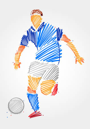 Draft drawing of soccer player man running with the ball made in blue and grayscale brush strokes