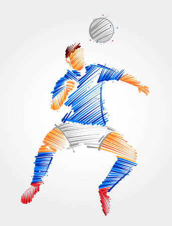 Soccer player jumping to head the ball. Drawing made with blue and grayscale brushstrokes Çizim