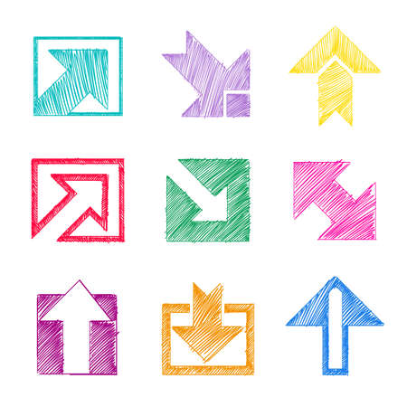 Arrow icon set in sketch style as if it were scribble in colors