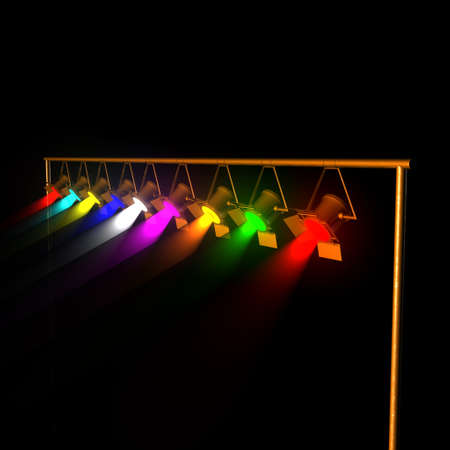 reflectors: Stage reflectors with metallic orange casing