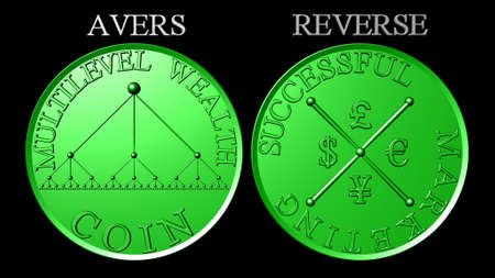 multilevel: Metallic green coin multilevel marketing