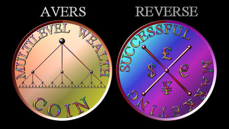 multilevel: Metallic lineare misto verticale di marketing multilevel moneta colore
