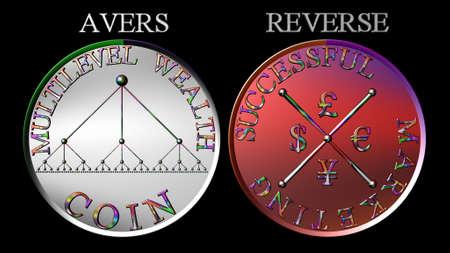 multilevel: Radiale metallico misto di marketing multilevel moneta colore Archivio Fotografico