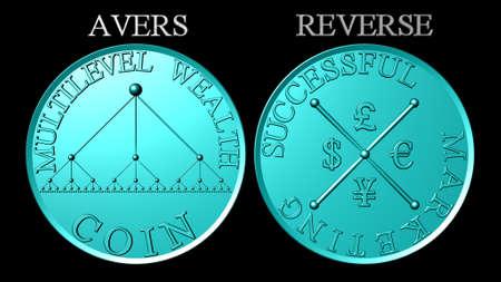 multilevel: Metallic cielo blu moneta multilevel marketing