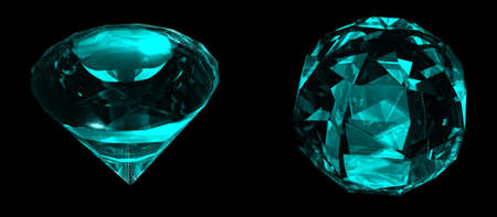 refractions: Two precious sky blue sapphires gemstones with different shapes