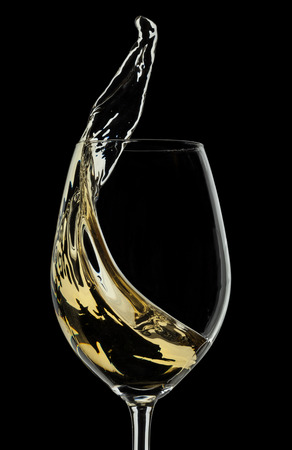 White wine splash on black background photo