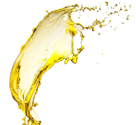 oil splash: Flying splash yellow liquid on a white background Stock Photo