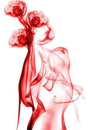 red abstract smoke isolated on white background Stock Photo