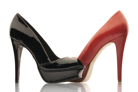 red and black womens shoes high heels photo