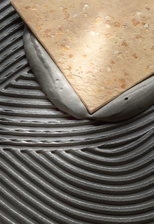 床のタイルの取付け