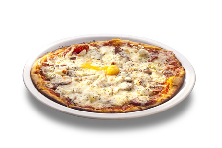 Fresh Oven Baked Pizza with Egg, Sausage, All Cheese isolated on white background photo