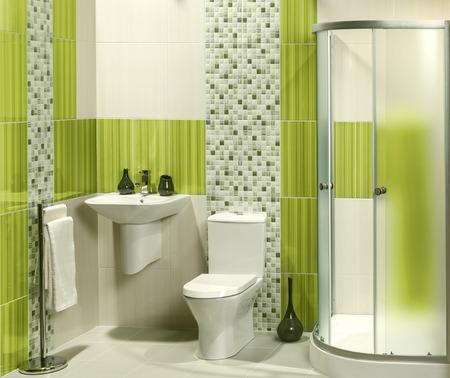 洗面台、トイレ付きのモダンなバスルームの詳細