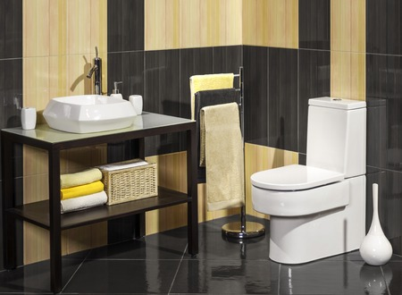 bathroom design: Detail of a modern bathroom with sink and toilet