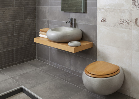 bathroom interior: detail of a modern bathroom with tub and sink