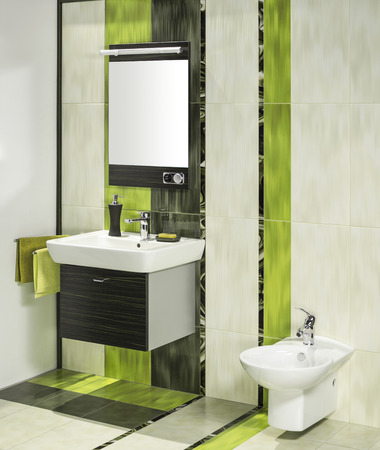 miror: detail of a modern bathroom interior with miror and bidet Stock Photo