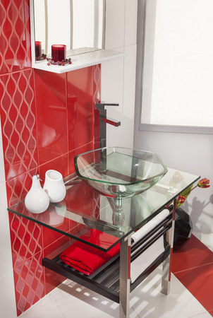 to sink: Beautiful interior of bathroom with sink Stock Photo