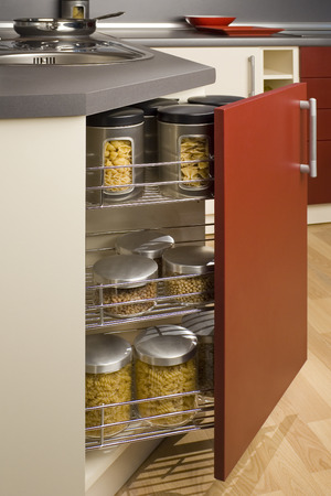 detail of open kitchen drawer boxes with pulses