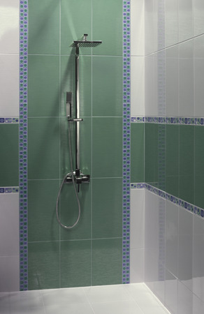 comfort room: luxury  bathroom with shower Stock Photo