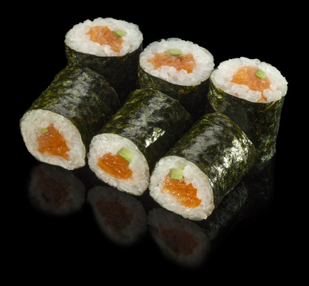 sushi restaurant: Sushi Roll with Fresh Salmon and Avocado