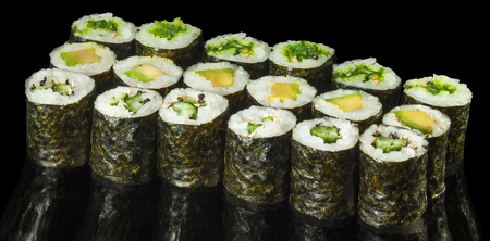 philadelphia roll: Vegetarian Maki Sushi - Roll made of Tomato, Cucumber, Bell Pepper, Salad Leaf, Avocado and Japanese Mayonnaise