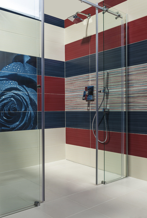 detail of luxury bathroom with shower in apartment