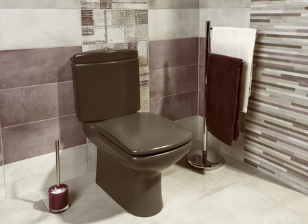dryer  estate: detail of modern private bathroom interior with brown tiles