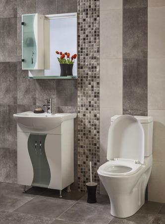 bathroom interior: Interior of stylish modern bathroom