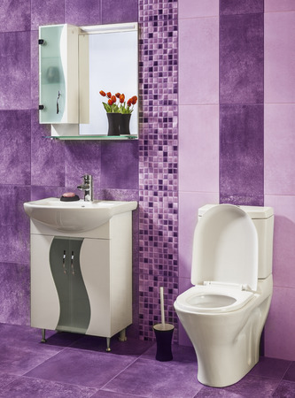 bathroom tiles: beautiful and stylish bathroom decorated with flowers with purple tiles