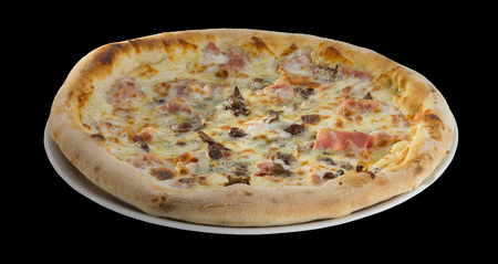 hardy: pizza, mushrooms, ham, garlic, italian, meal, crust, mozzarella, dough, snack, supreme pizza, dinner, taste, hearty, bake, garden, cheese, junk food, salty, home, veggie, cooking, hardy, food, sauce, eating, supreme, american, olives, made, slice, kitchen Stock Photo