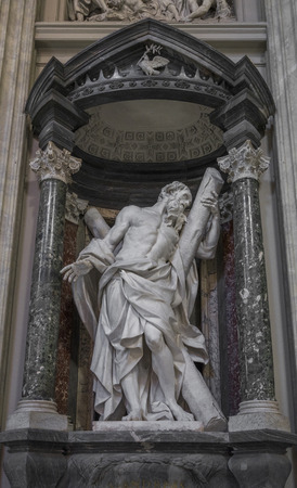 camillo: Sculpture of the apostle St. Andrew by Camillo Rusconi on the nave of the Archbasilica of St John Lateran in Rome, Italy Stock Photo