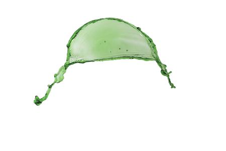 splendid splash green color over white background flying Stock Photo