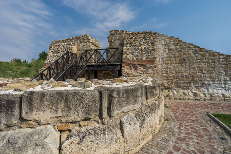 stone wall and fortress tower from Roman castle Dimum, Bulgaria Stock Photo