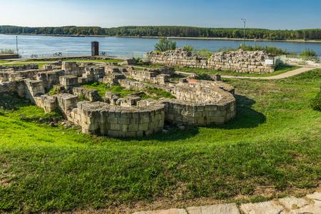 Remains of stone walls of ancient castle Durostorum, Bulgaria
