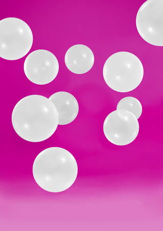 Beautiful white bubbles with pink background