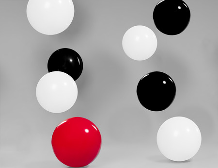 White, black and red balloons with grey background Stok Fotoğraf