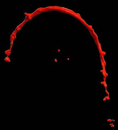 splendid red paint splash isolated on black background 版權商用圖片