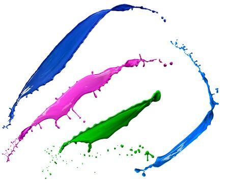 splendid different colors paint splash isolated on white background