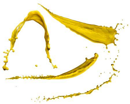 splendid yellow paint splash isolated on white background