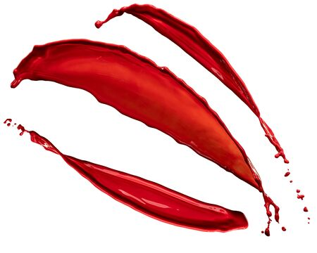 beautiful splashes of red paint isolated on white background